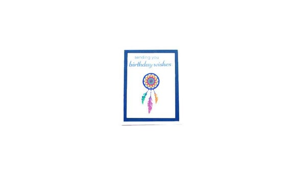 Dream Catcher Birthday Card Colorful Feather