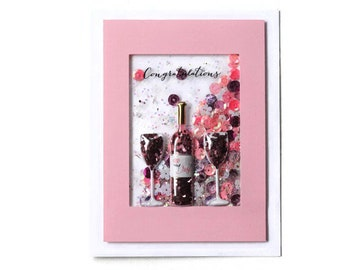 Engagement Card - Congratulations - Wedding Card - Bridal Card - Shaker Card - Wine - Champagne - Interactive card