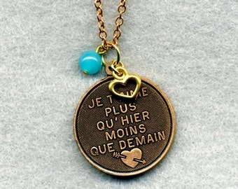 I Love You More Than Yesterday Brass Necklace - Free Shipping!