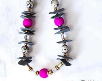 Regan Porcelain Necklace, Ceramic Jewelry, Beaded Necklace, Ceramic Jewelry, Gift for her, Gift under 50