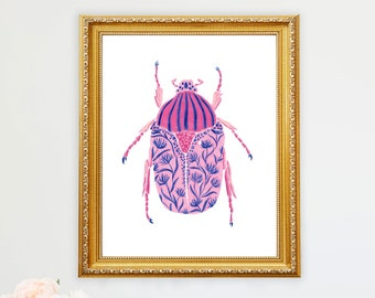Beetle Patterned Art Print Insect Bug Floral Painting Wall Decor Garden Nursery Anthropologie Style CottageCore Collection Flower Girls Room