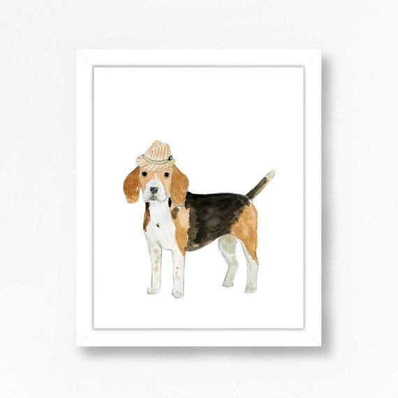 Beagle Dog Art Print Watercolor Illustration Puppy Childrens Kids Baby Wall  Nursery Decor Animal Dogs Hat Hound Brown Black Boys Painting