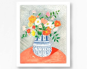 Poppies Painting, Poppies Print, Poppy Painting, Poppy Print, Blue and White Vase, Floral Prints, Floral Wall Art, Bohemian Wall Art Decor