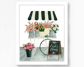 Floral Flowers Quote Art Print Watercolor Illustration Wall Art Decor Farmhouse Claude Monet Pink