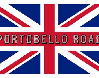 Union Jack and Portobello Road Custom Designed Linen & Cotton Tea Towel. Practical and Classic!