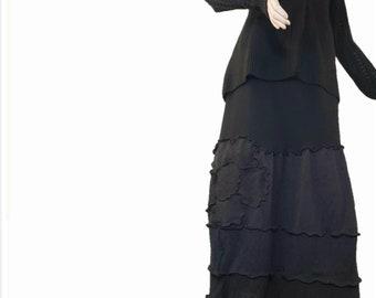 de710bddb05 Floral Ruffled Sweater Skirt M Medium Recycled Black Wool Eco Friendly  Patchwork