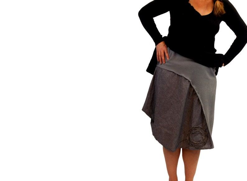 Draped Asymmetric Floral Skirt M/L/XL Handmade Flower image 0