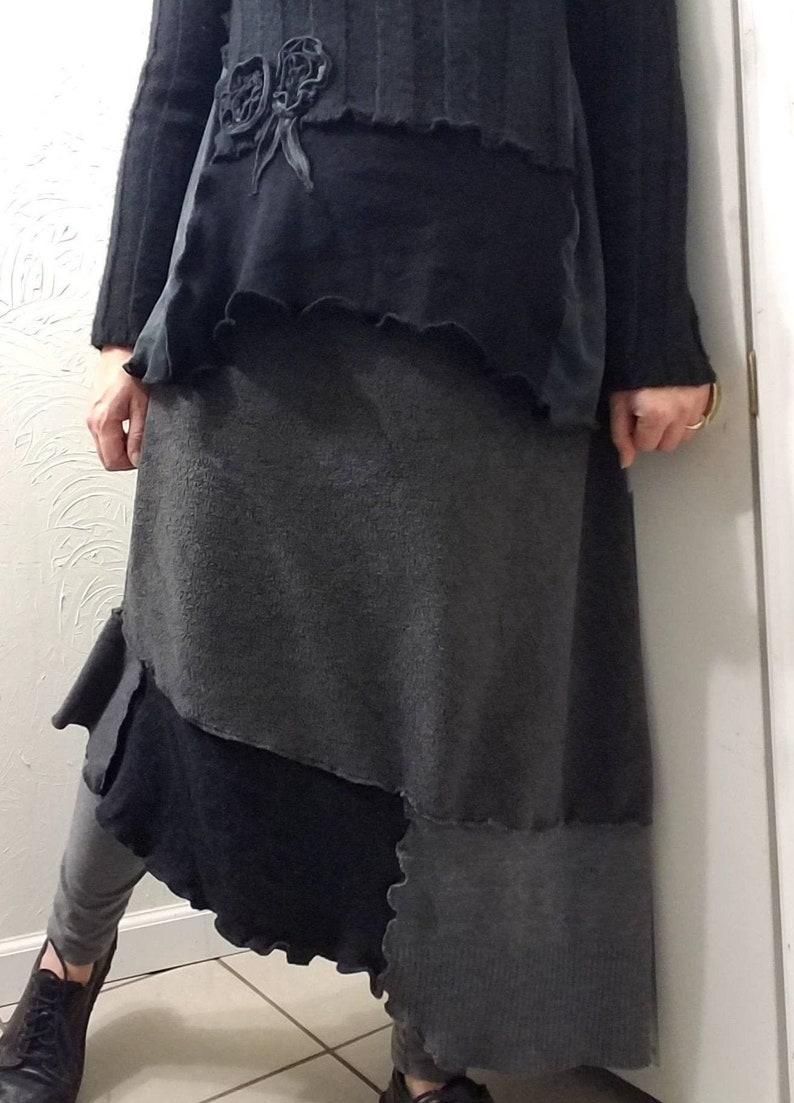 Asymmetric Color Block Sweater Fleece Skirt L/XL Large image 0