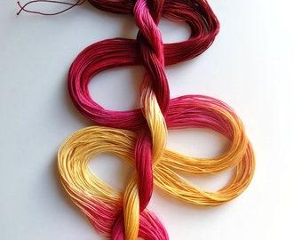 "Size 20 ""Roses"" hand dyed thread 6 cord cordonnet tatting crochet cotton"
