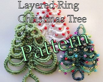 "Tatting Pattern ""Layered Ring Christmas Tree"" PDF Instant Download"