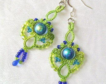 Green and blue tatted earrings