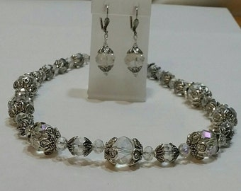 Renaissance Clear Crystal Necklace and Earrings Set