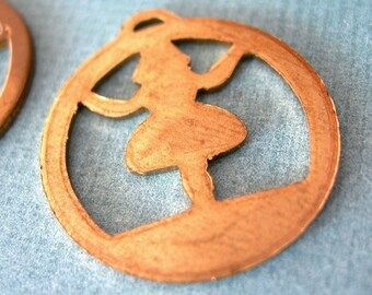 4 Copper Charms, GIRLS Cutouts, flat circles, 25mm, Genuine Vintage