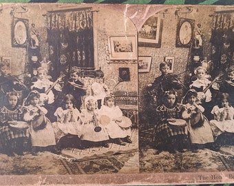 The Home Band, Musical Children / Family, Antique Stereoview Photo