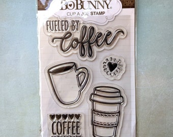 BOBUNNY Cup a Joe Cling Rubber Stamps Set, new in package, Coffee Theme