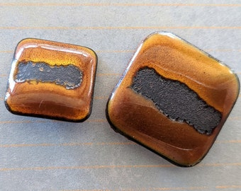 """1 Square Copper Button, Enameled, choose your size: 3/4"""" or 1"""""""