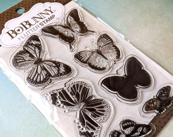 BUTTERFLIES Set by BOBUNNY Cling Rubber Stamps, new in package