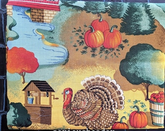 """Joan Kessler Craft Fabric remnant, Fall Country Scene with Pumpkins, 32"""" x 44"""" cotton print (Concord)"""
