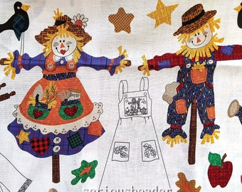 """Dreamspinners AUTUMN APPLIQUE Craft Fabric 36"""" x 44"""" Fall Theme -- Scarecrows, Borders, Panels"""