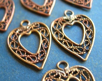 Genuine Vintage Heart Charms Filigree Brass lot of 6 14mm x 20mm