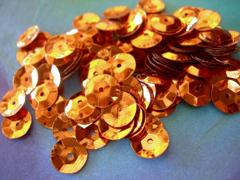 8mm XL Vintage Sequins RUSTY ORANGE Cupped Large full strand