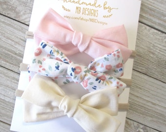 Pink Newborn Bow Spring Bows and Headbands for Girls Pink Baby Bow Seersucker Bow