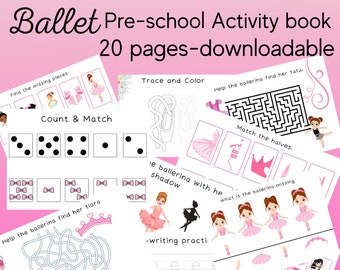 Preschool Busy Book |Ballet| Learning Activities for Preschool Kids | Letter and Number Tracing, Handwriting, Color Matching and Fun Games