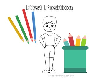 Boys Ballet colouring pages - download - ballet positions