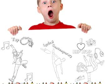 Boys dance coloring pages download, jazz, ballet, lyrical, tap, hip hop, printable