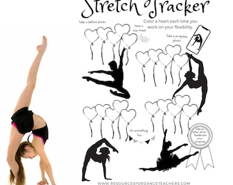 Goal Tracker, challenge, dancer, stretching, stretch chart, sticker chart, goal setting, pdf, downloadable, printable