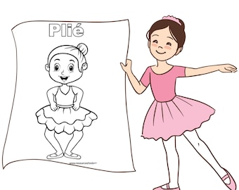 Girls Ballet colouring pages - ballet positions, download, ballet art, digital,