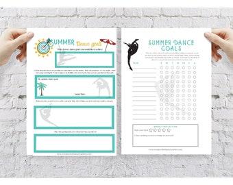 PRINTABLE GOAL PLANNER - Daily Goal Planner - Digital Downloadable Dancer Performance Tracker - Printable Stretch Tracker Digital Print
