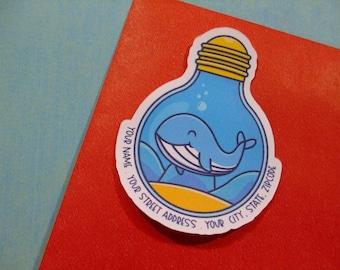 Custom Address Labels - Whale Light Bulb {Set Of 25}