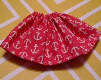 Blythe / DAL Skirt - Anchors Away On Dark Pink