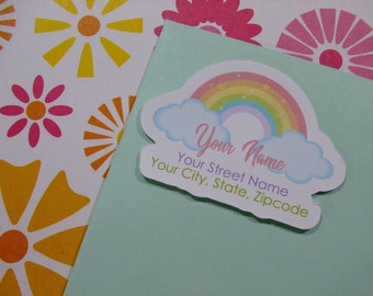 Custom Address Labels - Pastel Rainbow {Set Of 25}