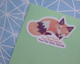 Custom Address Labels - Sleepy Woodland Fox {Set Of 25}
