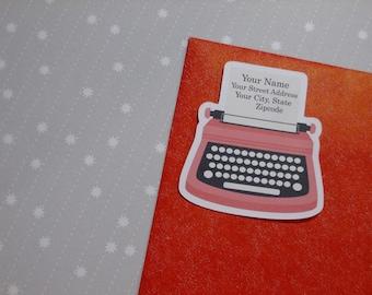 Custom Address Labels - Red Typewriter {Set Of 25}