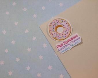 Custom Address Labels - Donut With Sprinkles {Set Of 25}