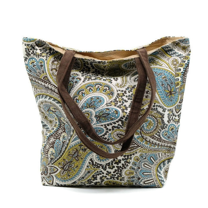 cd6abaa9e26 Brown Paisley Fabric Market Grocery Book Tote Bag with Magnetic Snap Closure