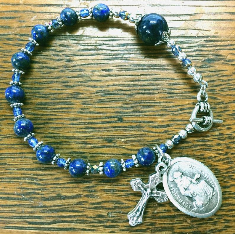 7e0c2539f43 Rosary Bracelet GEMSTONE CATHOLIC ROSARY Patron Saint Francis | Etsy