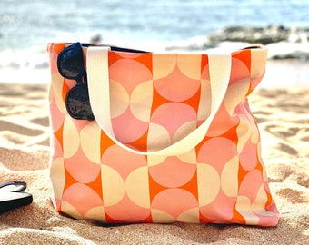 Oversized Tote Bag, pink and orange retro canvas tote bag, oversized tote bag, retro orange and pink tote, lined tote bag, gift for her