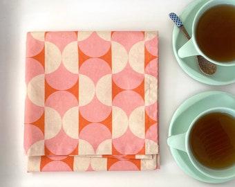 Retro Kitchen Towel - Pink and orange organic cotton tea towel - Mod Cloth, Mod Kitchen Towel in orange and pink, 1960s decor, retro decor