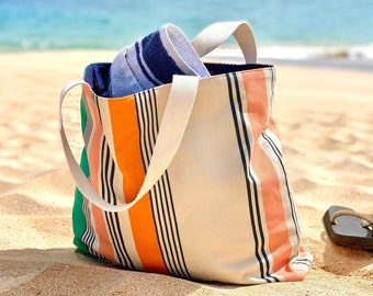Large beach bag - Lined cotton canvas tote bag with a classic preppy stripe. A great summer bag gift for mom. 2