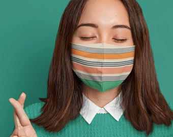 Striped face mask, colorful COVID-19 mask, retro mask, washable face cover with filter pocket and nose wire. Mask for him, mask for her