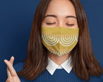 Hanukkah face mask, menorah print COVID-19 mask, yellow washable face cover with filter pocket and nose wire. Holiday mask, jewish gift