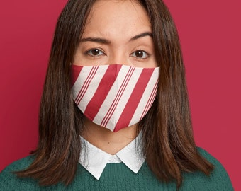 Christmas face mask, candy cane COVID-19 mask, striped mask, washable face cover with filter pocket and nose wire. Holiday mask