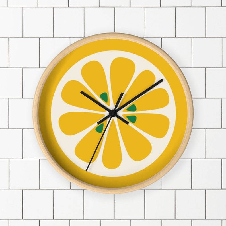 Lemon Kitchen Clock  Mod Wall Clock with lemon print for home image 0