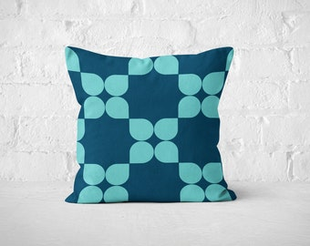 Geometric throw pillow cover in teal and sky blue, mid century modern cushion cover. Colorful retro throw pillow, 18x18 sofa pillow retro