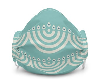 Hanukkah face mask, menorah COVID-19 mask, washable face cover with filter pocket and nose wire. Modern Hanukkah Jewish gift, holiday gift
