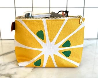 Lemon makeup bag, yellow cosmetics bag, travel pouch, makeup pouch, lemon yellow, pencil bag, toiletries bag, teen girl gift, back to school